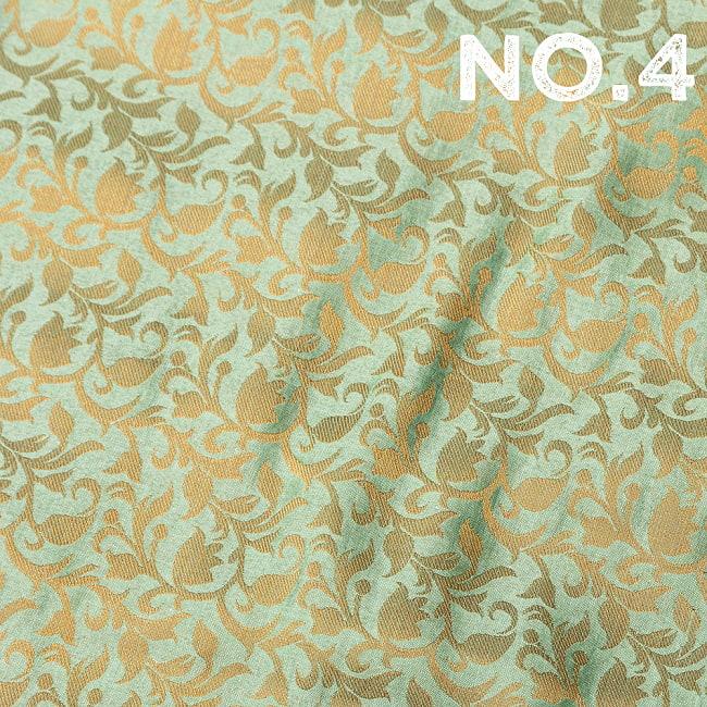 〔1m切り売り〕〔各色あり〕インドの伝統模様布 光沢感のある更紗模様〔幅約108.5cm〕 12 - No.4 薄緑