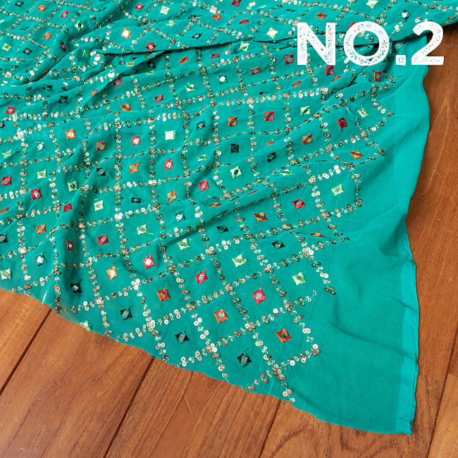 〔1m切り売り〕〔各色あり〕スパンコール格子模様のメッシュ シースルー生地布〔幅約110.5cm〕 10 - No.2 グリーンターコイズ