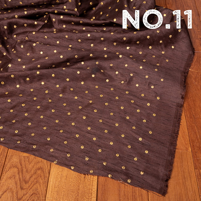 〔1m切り売り〕インドの伝統模様布 光沢感のあるシンプル模様〔幅約110cm〕 19 - No.11 焦げ茶
