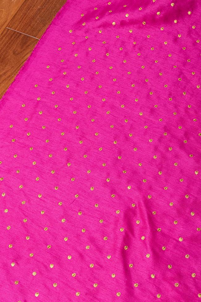 〔1m切り売り〕インドの伝統模様布 光沢感のあるシンプル模様〔幅約110cm〕 3 - インドならではの布ですね