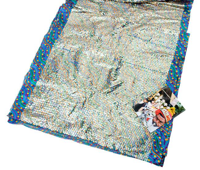 〔1m切り売り〕インドのスパンコールクロス - 水色〔幅約100cm〕の写真