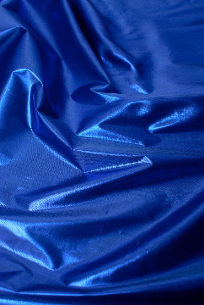 〔1m切り売り〕インドの伝統模様布 - 無地 青〔幅100cm〕の写真