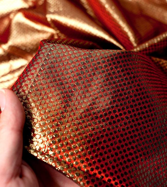 〔1m切り売り〕インドの伝統模様布 - ドット柄 樺色〔幅110cm〕の写真5 - 拡大写真です