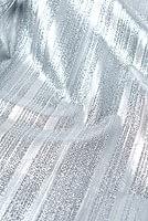 〔1m切り売り〕インドの伝統模様布 - ボーダー柄 シルバー〔幅104cm〕