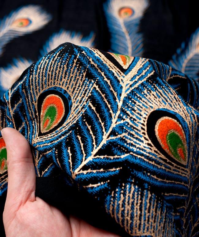〔90cm切り売り〕インドのビスコースカラフル布 - 孔雀の羽〔幅約110cm〕の写真5 - 手芸からデコレーション用の布などなど、色々な用途にご使用いただけます!