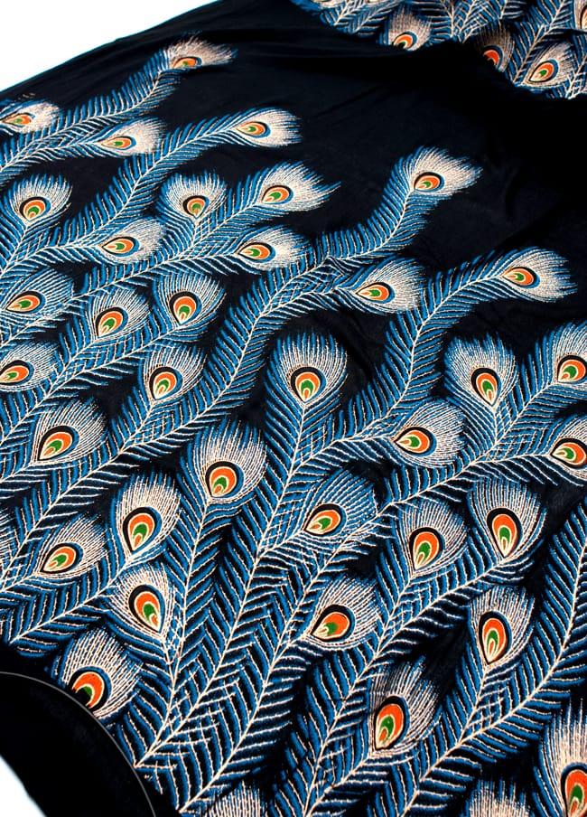 〔90cm切り売り〕インドのビスコースカラフル布 - 孔雀の羽〔幅約110cm〕の写真