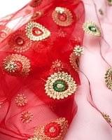 〔50cm切り売り〕メッシュ生地の刺繍とスパンコールクロス〔幅約110cm〕 - 赤