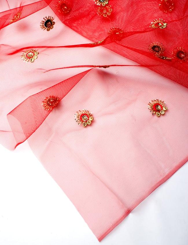 〔50cm切り売り〕メッシュ生地の刺繍とスパンコールクロス〔幅約110cm〕 - 赤の写真4 - フチの写真です