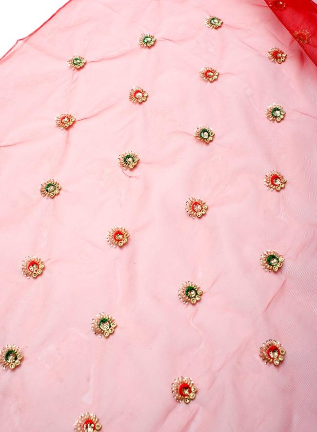 〔50cm切り売り〕メッシュ生地の刺繍とスパンコールクロス〔幅約110cm〕 - 赤の写真