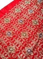〔50cm切り売り〕刺繍とスパンコールクロス〔幅約104cm〕 - 赤