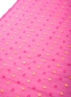 〔1m切り売り〕金糸コイン柄のシフォン生地布〔幅約111cm〕 - ピンク