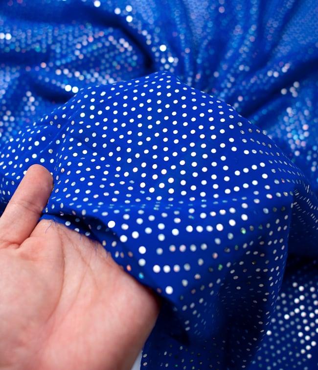 〔1m切り売り〕プリズムピンドット柄のシフォン生地布〔幅約107cm〕 - 青 5 - このような感じの生地になります。手芸からデコレーション用の布などなど、色々な用途にご使用いただけます!