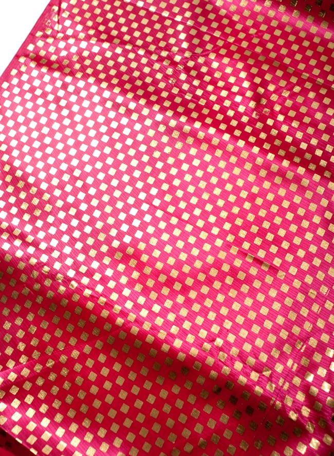 〔1m切り売り〕市松模様ゴールドプリント光沢布〔幅約105cm〕 - ピンクの写真