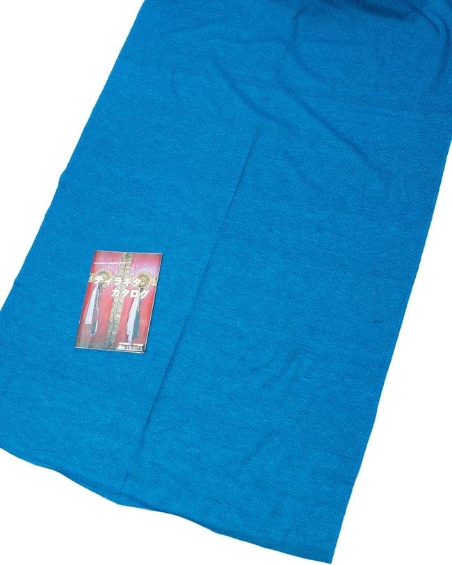 〔1m切り売り〕インドのシンプルコットン布  - 小花ブルー 〔幅約110cm〕の写真