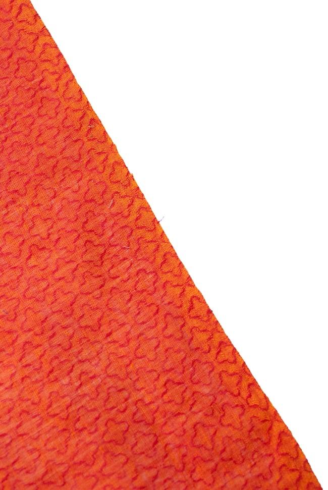 〔1m切り売り〕インドのシンプルコットン布 - 小花オレンジレッド 〔幅約110cm〕 4 - 端の部分はこのようになっています。