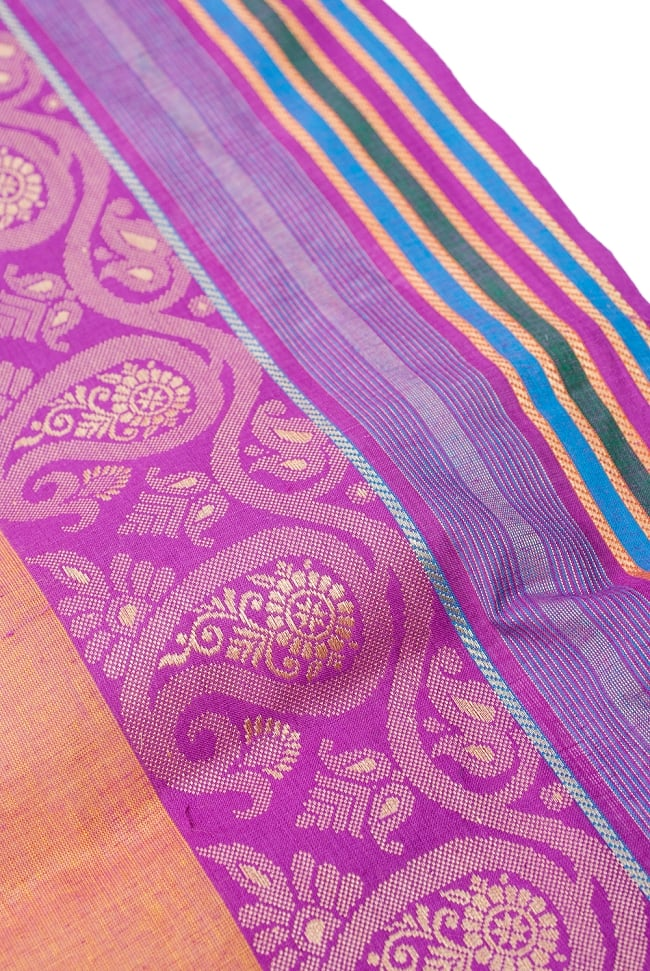 〔1m切り売り〕南インドのハーフボーダー・シンプル・コットン生地 - オレンジ×紫ペイズリー〔幅約110cm〕 3 - 片側には装飾ボーダーがついています。