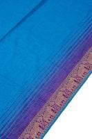 〔1m切り売り〕南インドのハーフボーダー・シンプル・コットン生地 水色×紫象さん〔幅約110cm〕