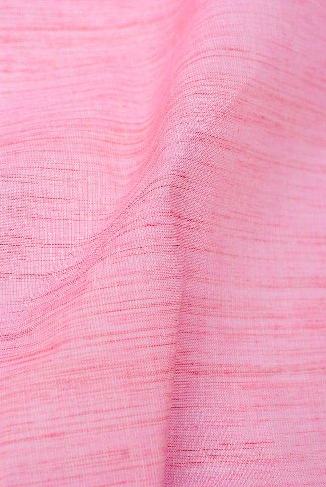 〔1m切り売り〕インドのパステルカラークロス - ピンクストライプ 〔幅約110cm〕 2 - 生地の様子を近くからみてみました。