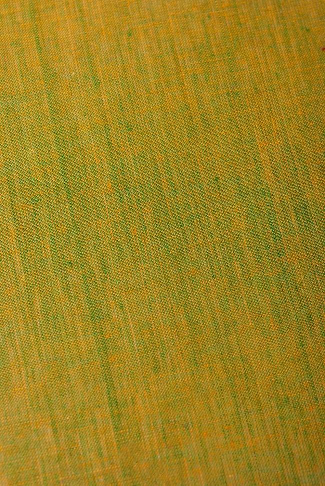 〔1m切り売り〕インドのシンプルコットン布  - 黄土グリーン〔幅約113cm〕の写真