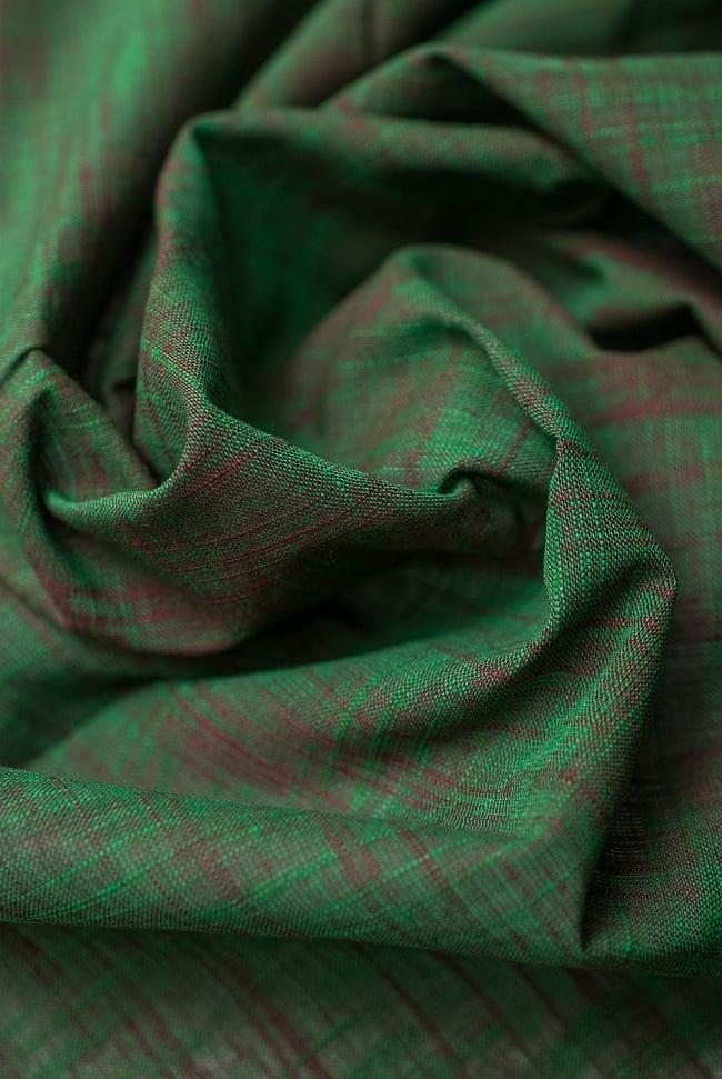 〔1m切り売り〕インドのシンプルコットン布 緑地にブラウン〔幅約108cm〕の写真4 - 陰影が美しく、いろいろなアイデアが浮かんできそうな一枚ですね。