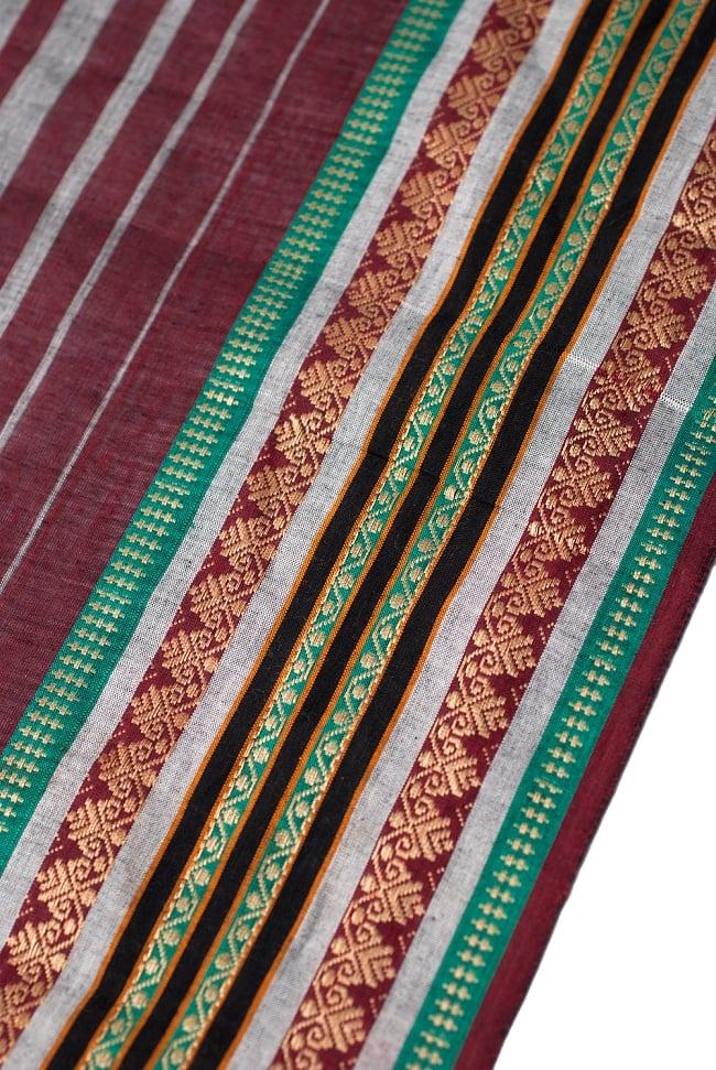 〔1m切り売り〕南インドのハーフボーダー・シンプル・コットン生地 -  - グレー×紫 ゴールドザリ〔幅約108cm〕 2 - 生地を近くからみてみました。