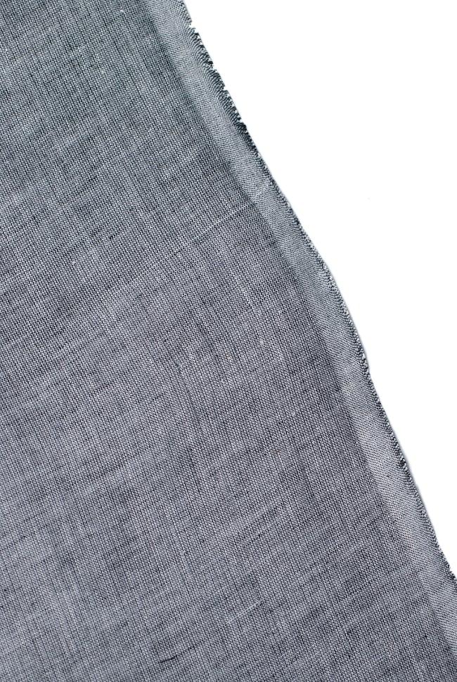〔1m切り売り〕南インドのハーフボーダー・シンプル・コットン生地 -  - グレー×黄緑 ゴールドザリ〔幅約108cm〕 3 - 端の部分の処理です。