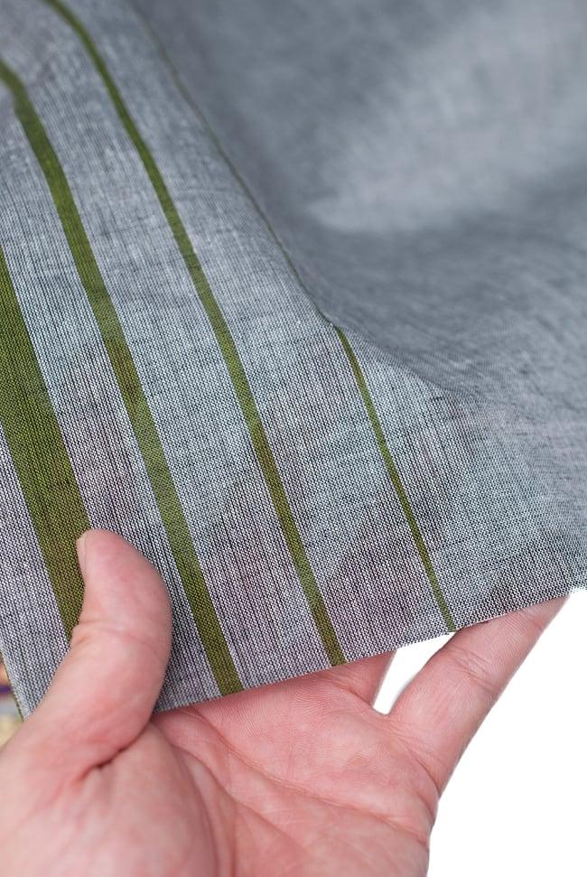 〔1m切り売り〕南インドのハーフボーダー・シンプル・コットン生地 -  - グレー×黄緑 ゴールドザリ〔幅約108cm〕 5 - さまざまな手芸へ。想像が広がる布です。