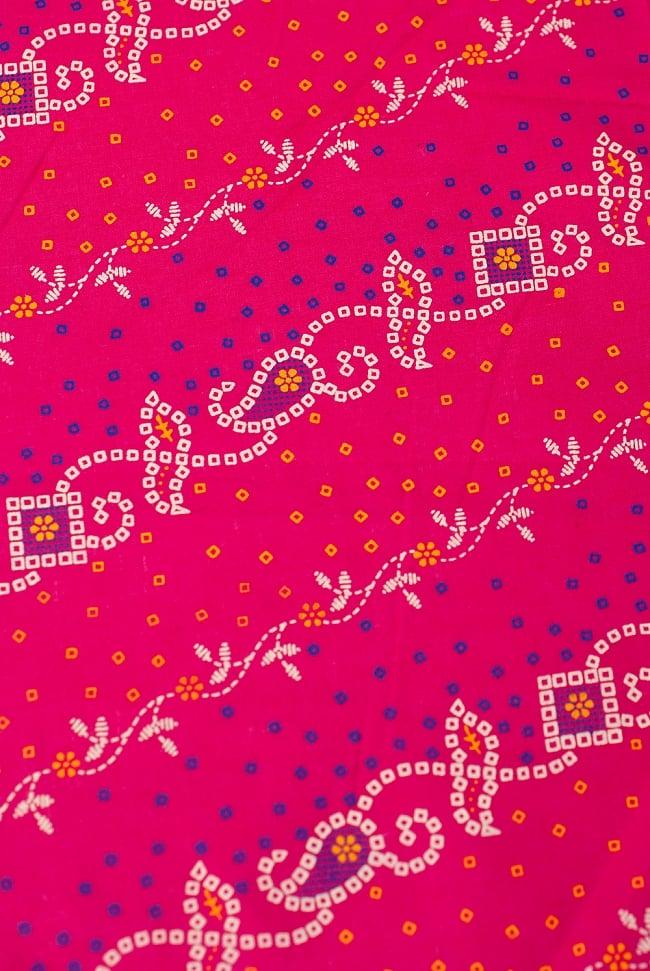 〔1m切り売り〕インドのバンディニ風プリント布 - ピンク〔幅約105cm〕の写真