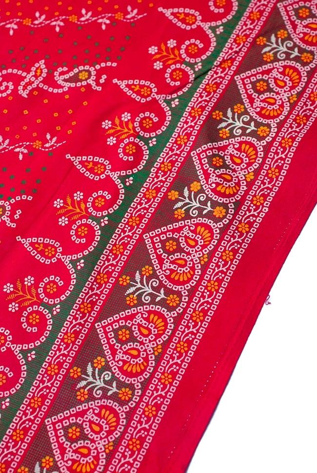 〔1m切り売り〕インドのバンディニ風プリント布 - 赤〔幅約105cm〕 2 - 生地を近くからみてみました。
