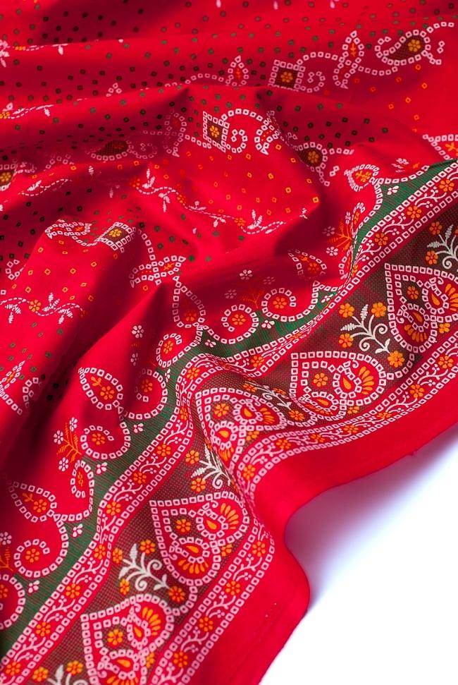 〔1m切り売り〕インドのバンディニ風プリント布 - 赤〔幅約105cm〕 4 - 陰影をつけるととても素敵な色合いですね。