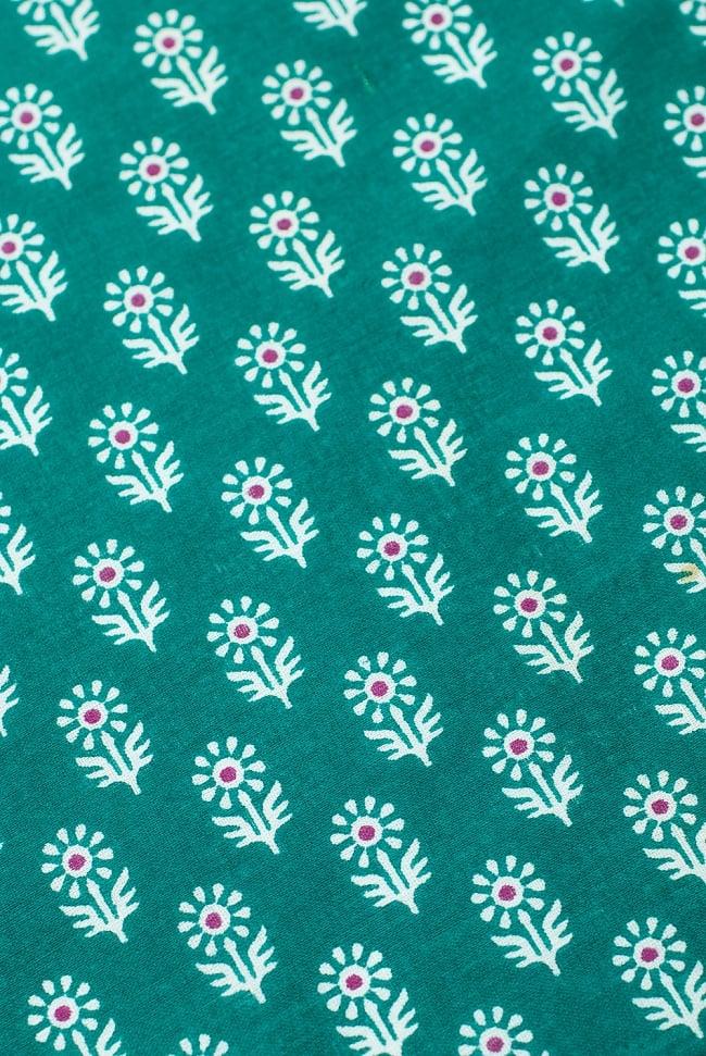 〔1m切り売り〕インドのウッドブロック風プリント布 - 青緑〔幅約107cm〕の写真