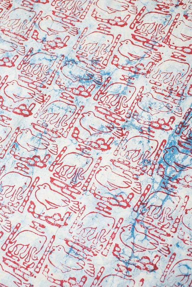 〔1m切り売り〕南インドのバティック布 象と鳥 - 赤〔幅約115cm〕の写真