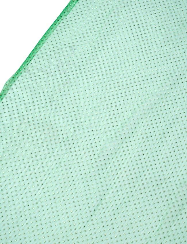 〔1m切り売り〕ゴールドドットプリントのメッシュ生地布〔106cm〕 - グリーンの写真