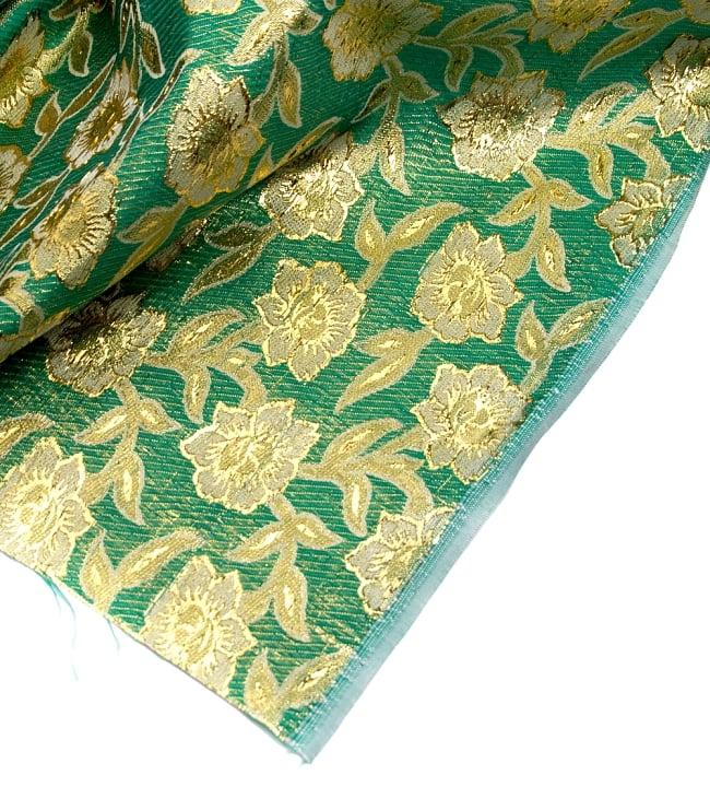 〔1m切り売り〕インドの金糸入り伝統模様布〔113cm〕 - グリーンの写真4 - フチの写真です