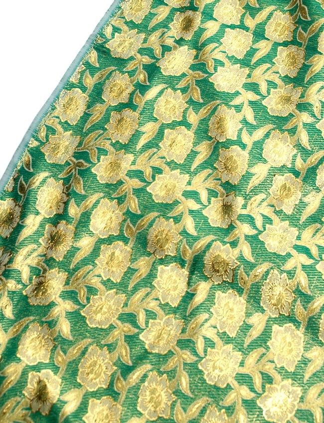 〔1m切り売り〕インドの金糸入り伝統模様布〔113cm〕 - グリーンの写真