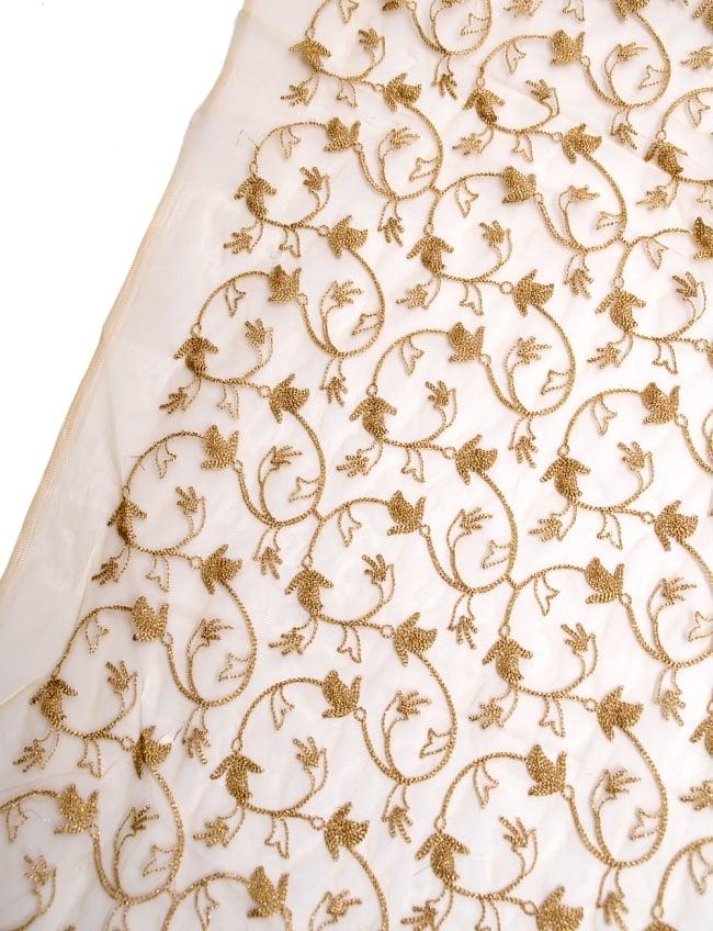 〔50cm切り売り〕更紗刺繍のメッシュ生地布〔105cm〕 - ベージュの写真