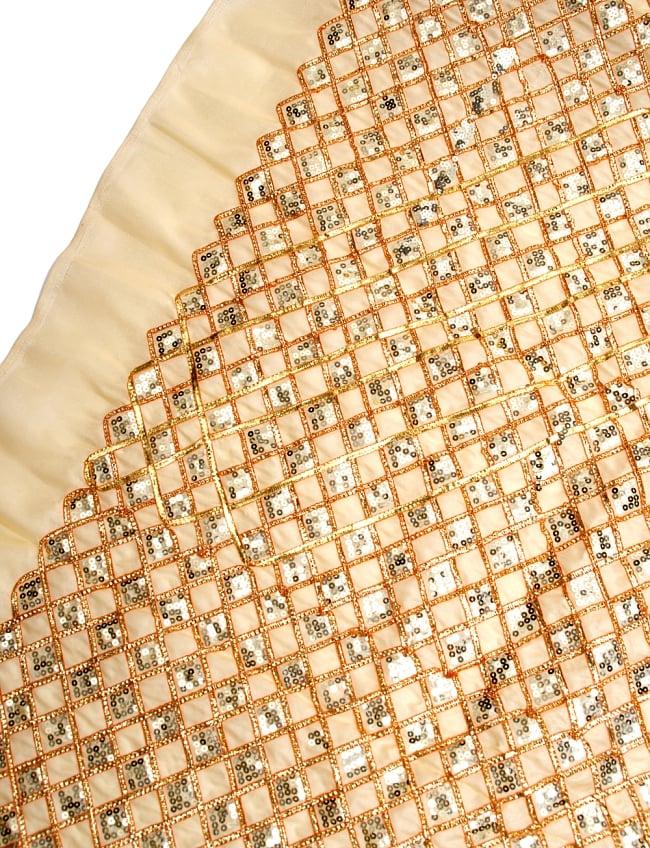 〔50cm切り売り〕インドのスパンコールクロス〔108cm〕 - ベージュの写真