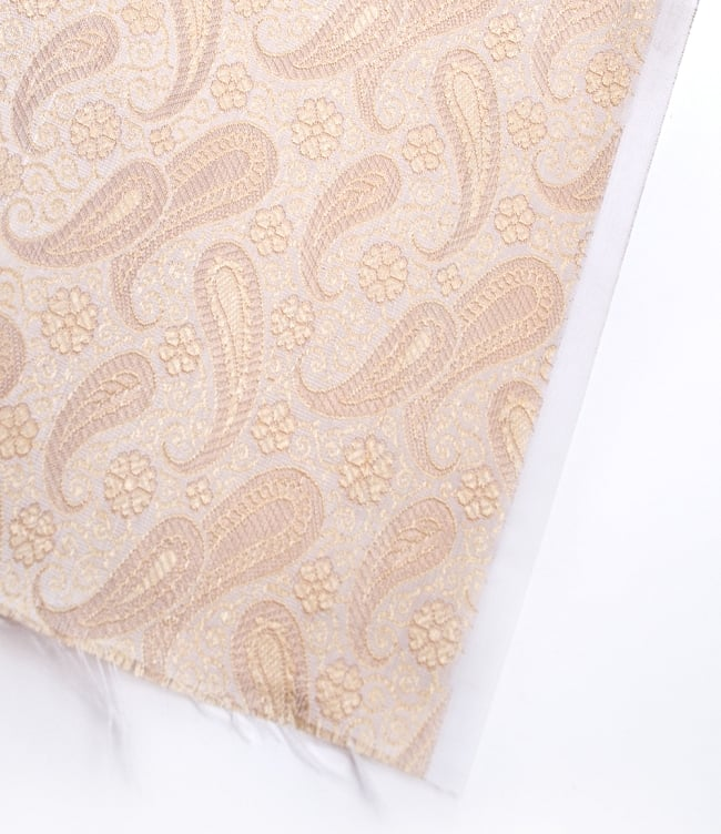 〔1m切り売り〕インドの伝統模様布〔106cm〕 - クリーム 4 - フチの写真です