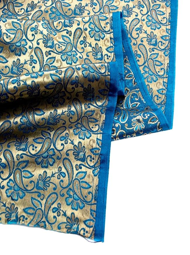 〔1m切り売り〕インドの伝統模様布〔93cm〕 - ゴールドとブルーの写真4 - フチの写真です