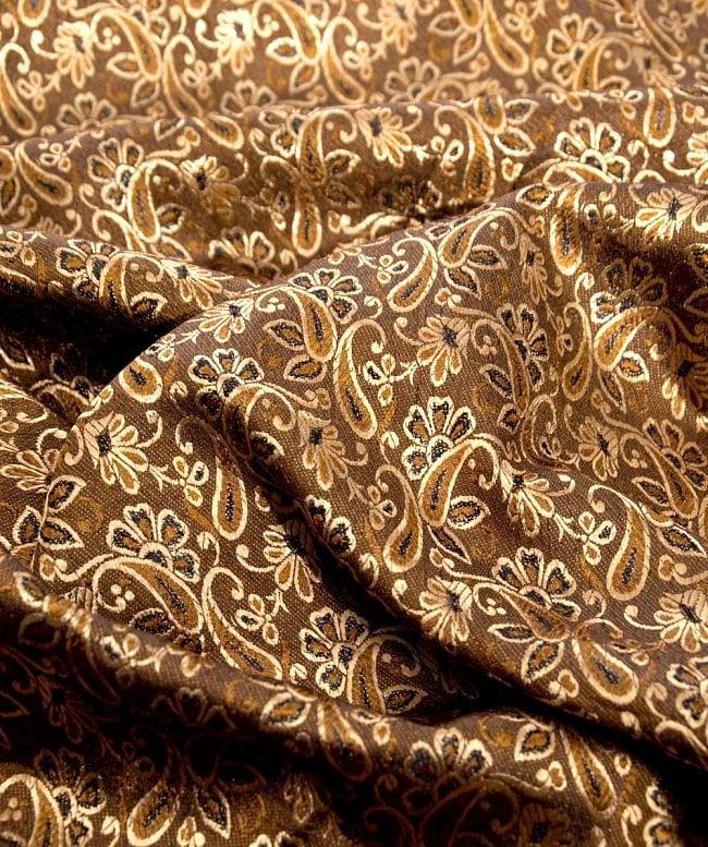 〔1m切り売り〕インドの伝統模様布〔99cm〕 - ブラウンの写真2 - 拡大写真です。独特な雰囲気があります。