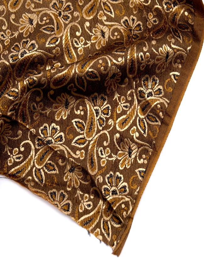 〔1m切り売り〕インドの伝統模様布〔99cm〕 - ブラウンの写真4 - フチの写真です