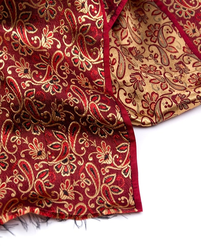 〔1m切り売り〕インドの伝統模様布〔90cm〕 - 赤茶の写真4 - フチの写真です