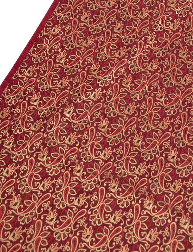 〔1m切り売り〕インドの伝統模様布〔90cm〕 - 赤茶の写真