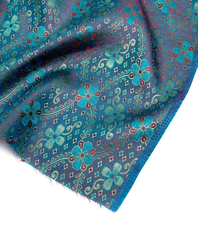 〔1m切り売り〕インドの伝統模様布〔113cm〕 - ブルーの写真4 - フチの写真です