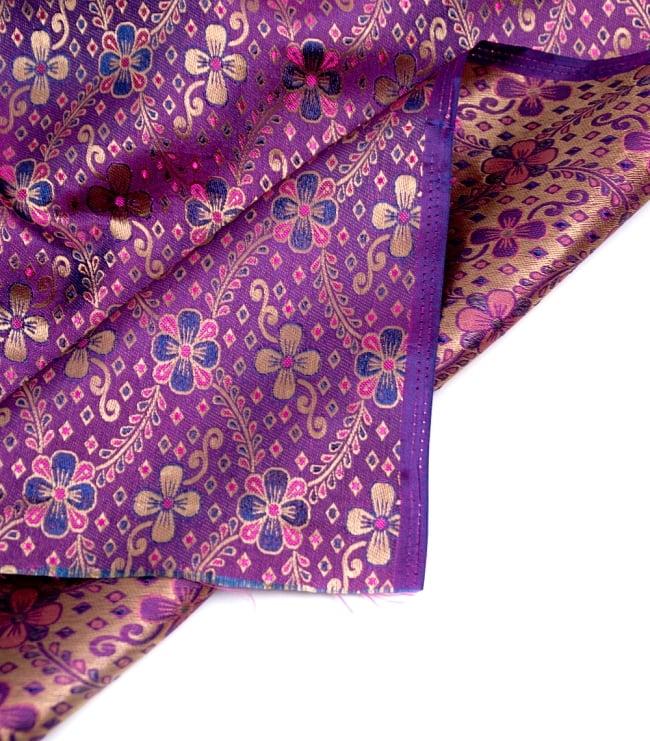 〔1m切り売り〕インドの伝統模様布〔113cm〕 - パープルの写真4 - フチの写真です