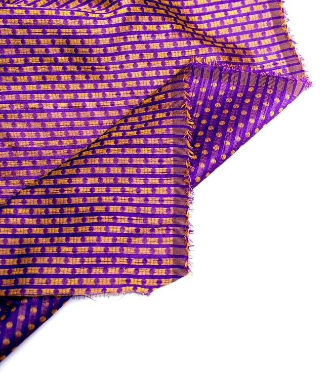 〔1m切り売り〕インドの伝統模様布〔112cm〕 - パープルの写真4 - フチの写真です