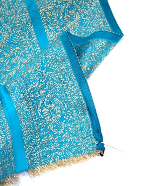 〔1m切り売り〕インドの伝統模様布〔110cm〕 - 水色系の写真4 - フチの写真です