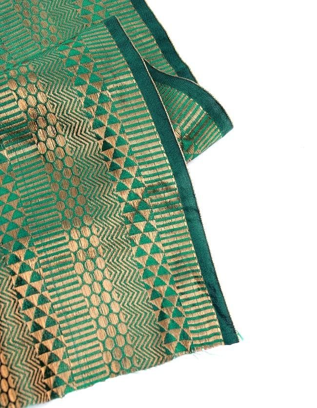 〔1m切り売り〕インドの伝統模様布〔112cm〕 - 緑×ゴールド系の写真4 - フチの写真です