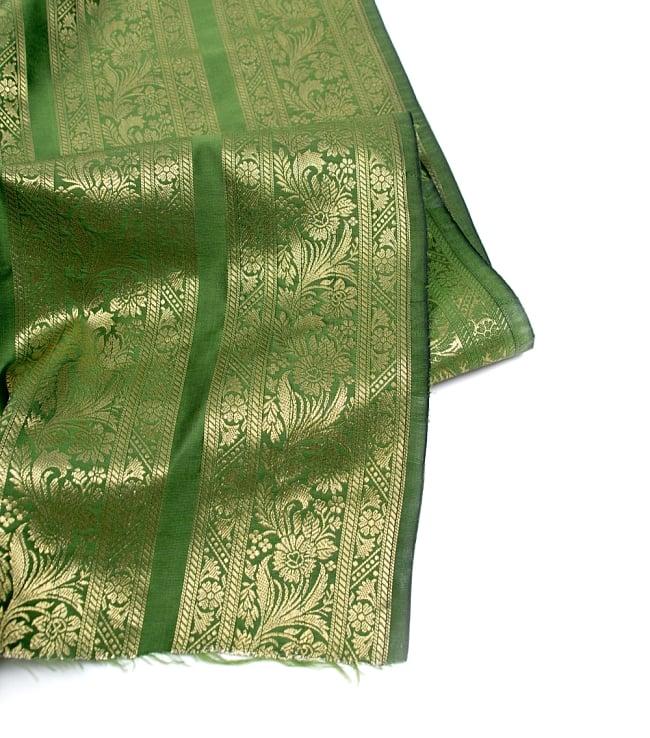 〔1m切り売り〕インドの伝統模様布〔111cm〕 - 緑系の写真4 - フチの写真です