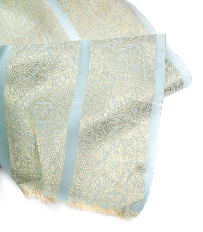 〔1m切り売り〕インドの伝統模様布〔104cm〕 - ミント系の写真4 - フチの写真です
